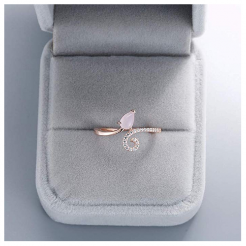 A ANGG 925 Sterling Silver Blue Topaz Pink Quartz Ring in Box