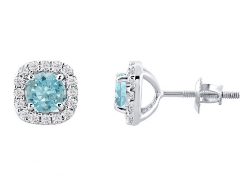 DiscountHouse4you Sterling Silver Aquamarine Stud Earrings
