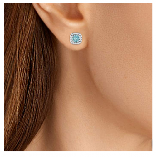 DiscountHouse4you Sterling Silver Aquamarine Stud Earrings on Model