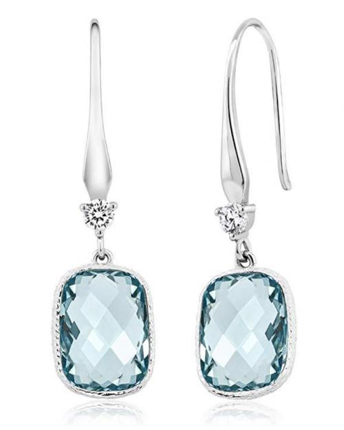 Gem Stone King Sterling Silver Simulated Aquamarine Dangle Earrings