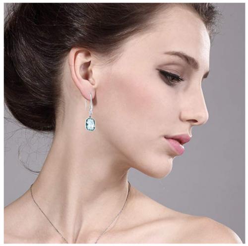 Gem Stone King Sterling Silver Simulated Aquamarine Dangle Earrings on Model