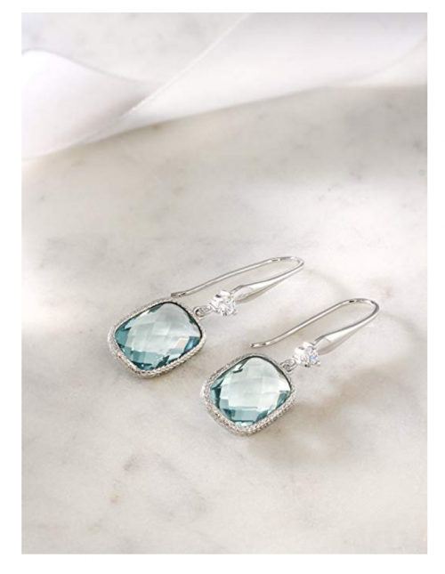 Gem Stone King Sterling Silver Simulated Aquamarine Dangle Earrings on Model on Display