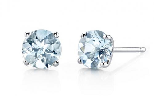 Ruby & Oscar Aquamarine 9ct White Gold Stud Earrings
