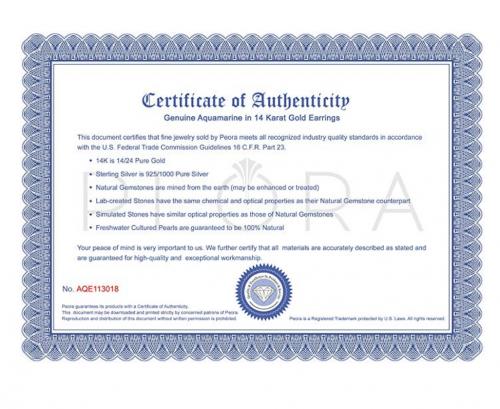 Peora Certificate of Authenticity