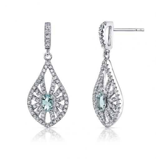 Ruby & Oscar Aquamarine & White Topaz Chandelier Earrings