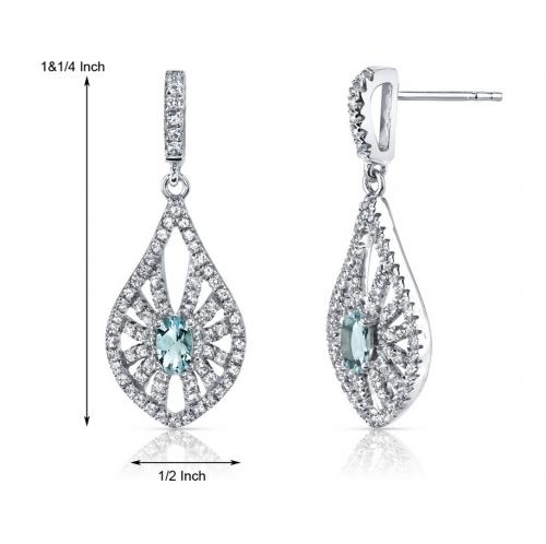 Ruby & Oscar Aquamarine & White Topaz Chandelier Earrings Size