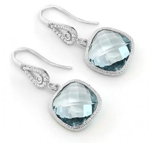Gem Stone King Aquamarine Dangle Earrings