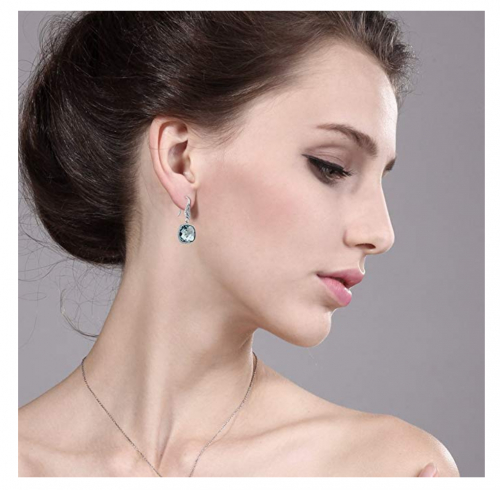Gem Stone King Simulated Aquamarine Earrings on Model