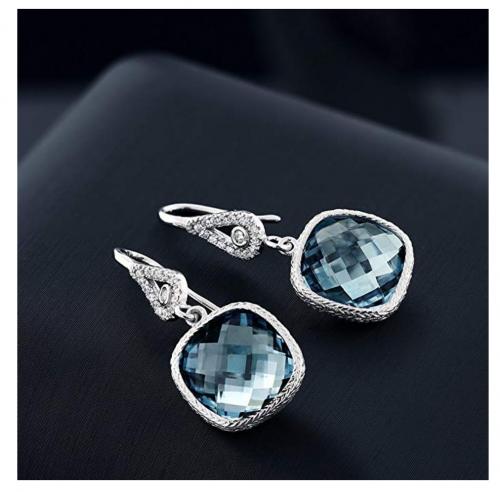 Gem Stone King Aquamarine Dangle Earrings on Display