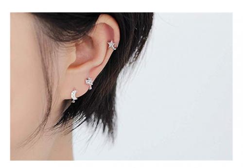 Dtja Star Moon Cartilage Hoop Earrings on Model