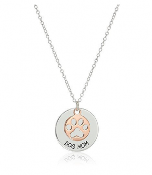 """Amazon Collection Sterling Silver """"Dog Mom"""" Necklace"""
