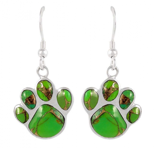 Turquoise Network Dog Paw Earrings - Green