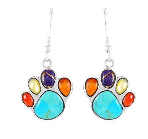 Turquoise Network Dog Paw Earrings - Multi Gemstones