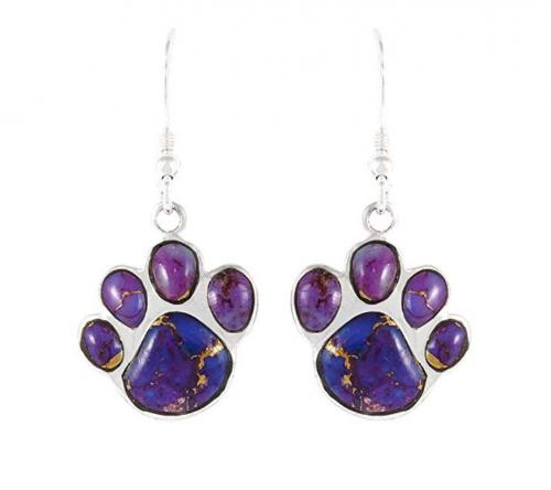 Turquoise Network Dog Paw Earrings - Purple