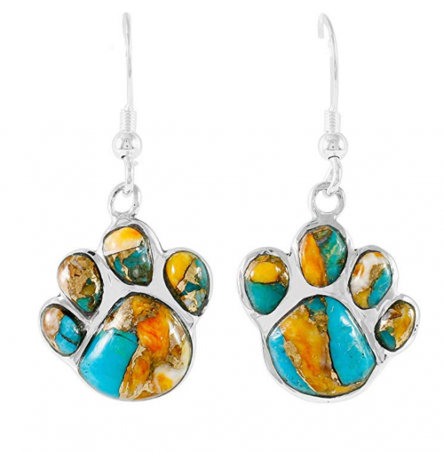 Turquoise Network Dog Paw Earrings -Spiny