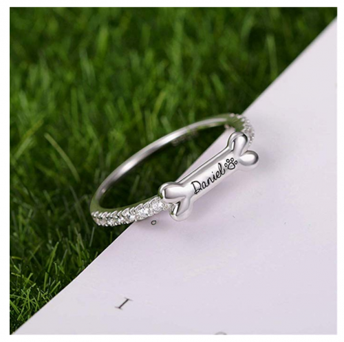 AILIN Jewelry Personalized Dog Bone Name Ring on Display