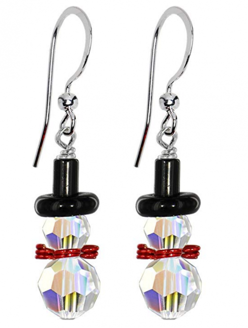 Body Candy Handcrafted Snowman Christmas Earrings