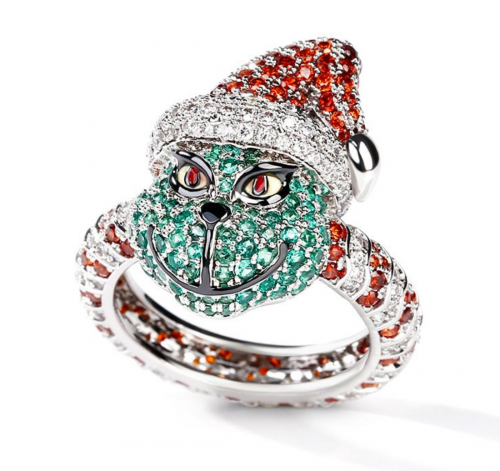 Jeulia Christmas Monster-Inspired Sterling Silver Ring