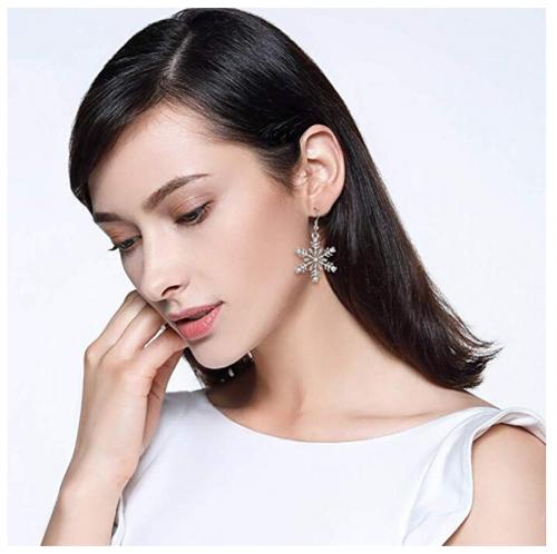 EVER FAITH Austrian Crystal Snowflake Dangle Earrings on Model