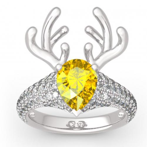 "Jeulia ""Christmas Reindeer"" Pear-Cut Ring"