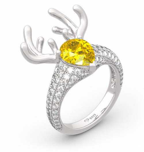 Jeulia Christmas Pear-Cut Ring Side View