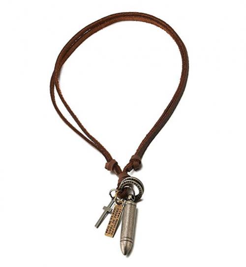 COOLSTEELANDBEYOND Vintage Bullet Cross Pendant & Leather Cord