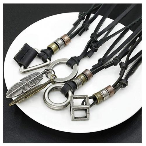 JOERICA 4pcs Men's Leather Necklace Set on Display
