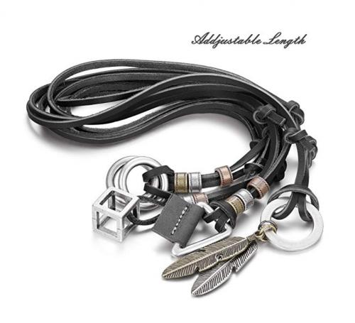 JOERICA 4pcs Men's Leather Necklaces Length
