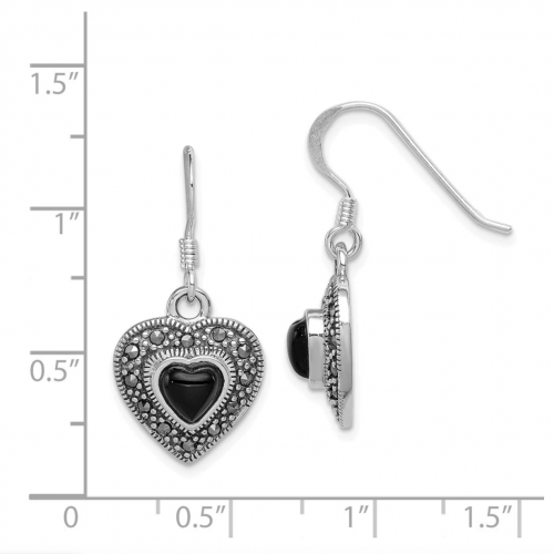 Black Bow Jewelry & Co. Onyx and Marcasite Heart Dangle Earrings Size