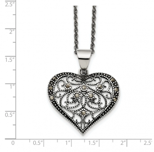 Black Bow Jewelry & Co. Marcasite Heart Necklace Size