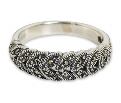 NOVICA Marcasite Handcrafted Floral Ring