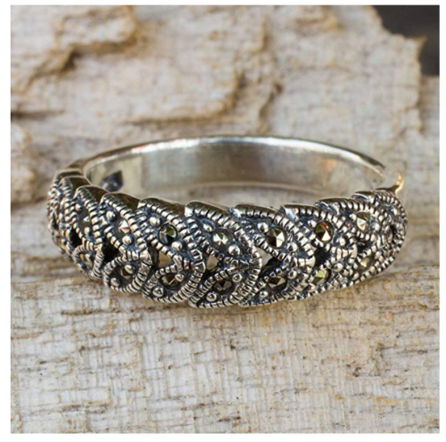 NOVICA Marcasite Handcrafted Floral Ring Detail