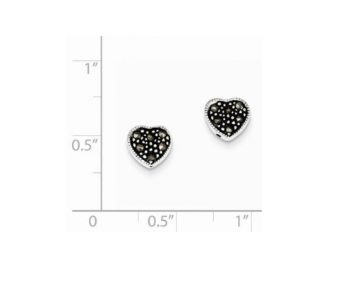 Black Bow Jewelry & Co. Marcasite Heart Post Earrings Size