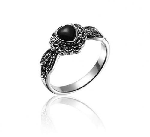 Chuvora Marcasite Black Onyx Heart Leaf Ring