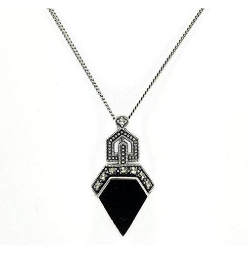 GemondoMarcasite & Black Onyx Art Deco Necklace