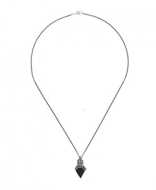 GemondoMarcasite & Black Onyx Art Deco Necklace Full View