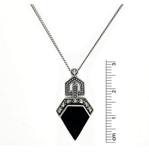 GemondoMarcasite & Black Onyx Art Deco Necklace Size