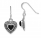 Black Bow Jewelry & Co. Onyx and Marcasite Heart Dangle Earrings