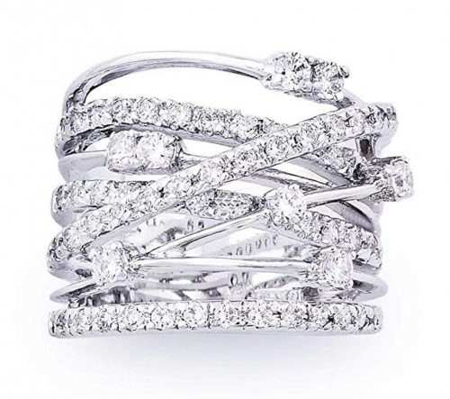 JanKuo Jewelry Rhodium Plated Cocktail Ring