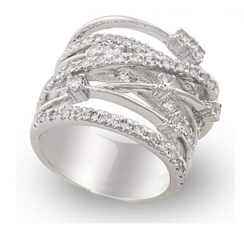 JanKuo Jewelry Rhodium Plated Cocktail Ring Side view