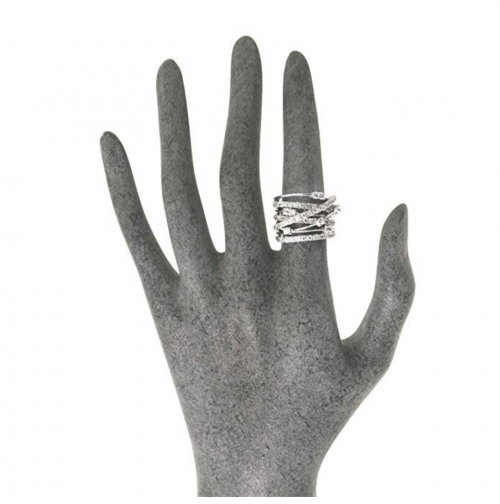 JanKuo Jewelry Rhodium Plated Cocktail Ring on Hand