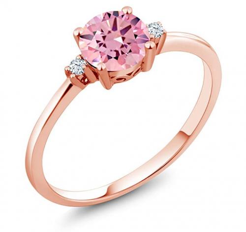 Gem Stone King 10K Rose Gold Pink Cubic Zirconia Ring