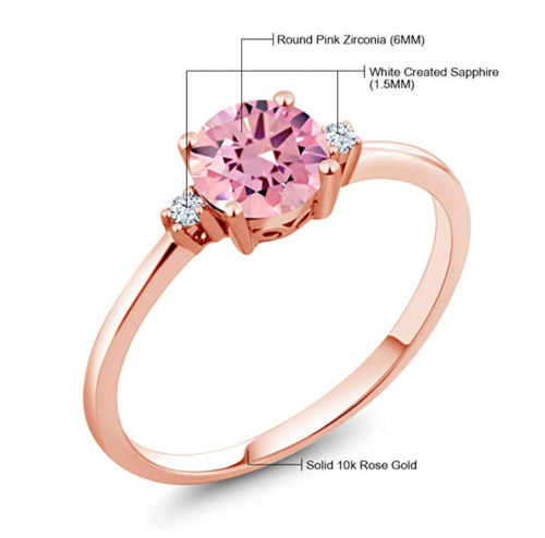 Gem Stone King 10K Rose Gold Pink Cubic Zirconia Ring Metals