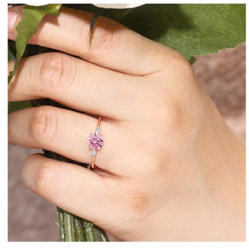 Gem Stone King 10K Rose Gold Pink Cubic Zirconia Ring on Hand