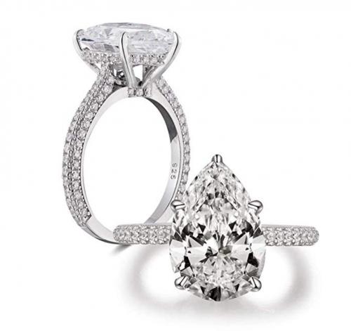 Bo.Dream Sterling Silver 5 Carat Pear Cubic Zirconia Ring