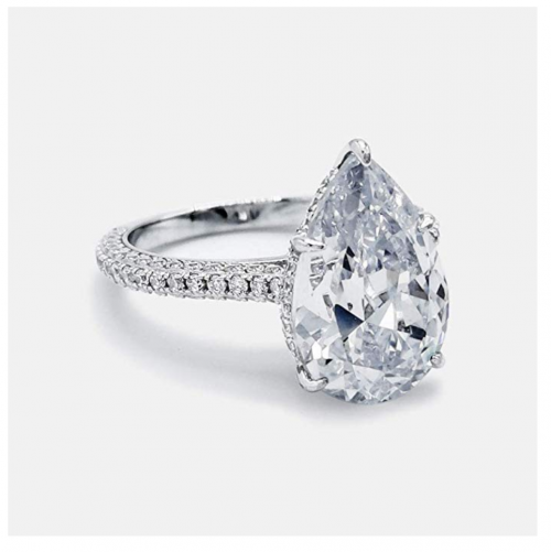 Bo.Dream Sterling Silver 5 Carat Pear Cubic Zirconia Ring Detail
