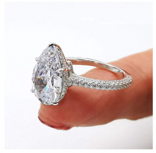 Bo.Dream Sterling Silver 5 Carat Pear Cubic Zirconia Ring Detail 2