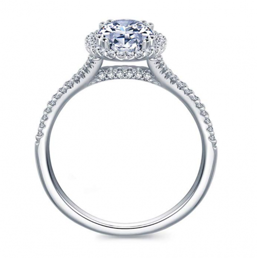 Hafeez Center Micropave Halo Ring Profile View