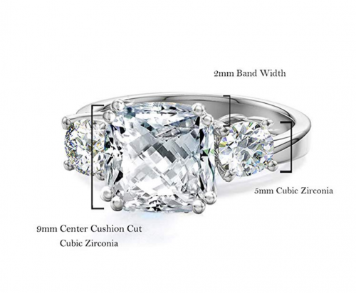 Samie Collection 3-Stone Cubic Zirconia Size