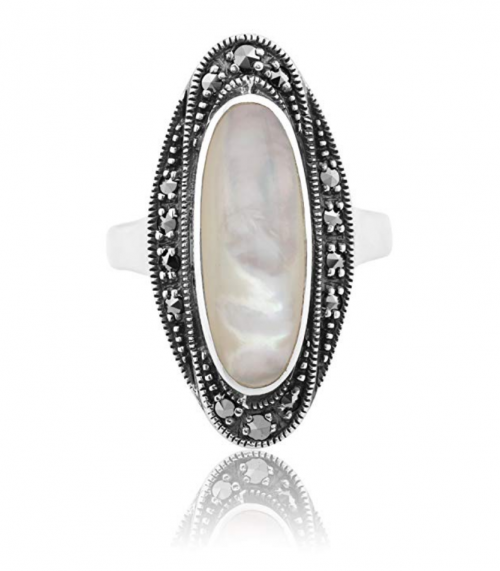 Gemondo Art Deco Mother of Pearl & Marcasite Ring Frontal View
